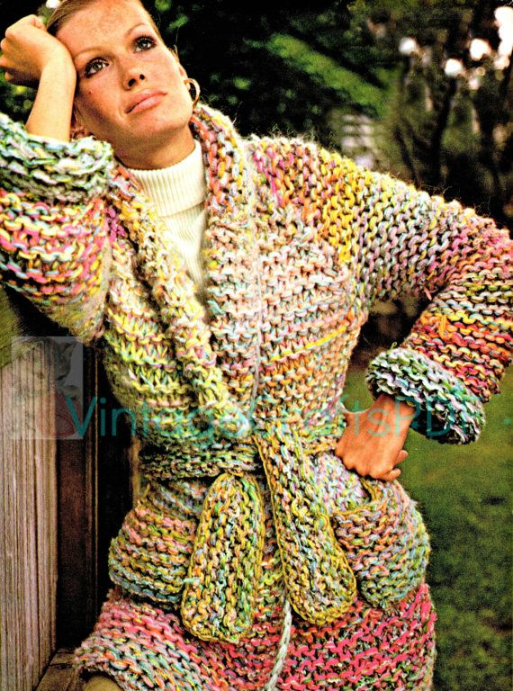 Retro 1970s Sweater Knitting Patterns • Multi Colored ...