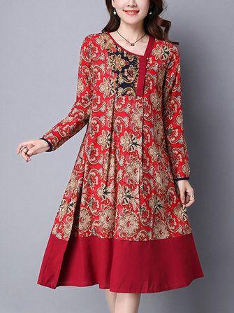 #Banggood Этнические Цветочные печати Лоскутное Хем Длинные рукава Свободные платья (1096337) #SuperDeals