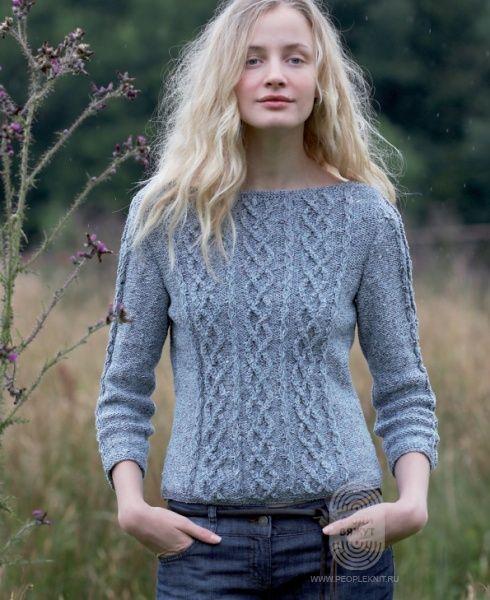 """Люди вяжут: Вяжем: Пуловер. """"Свитер с рукавами 3⁄4, связанный узором с косами"""" с подробной инструкцией на сайте peopleknit.ru."""