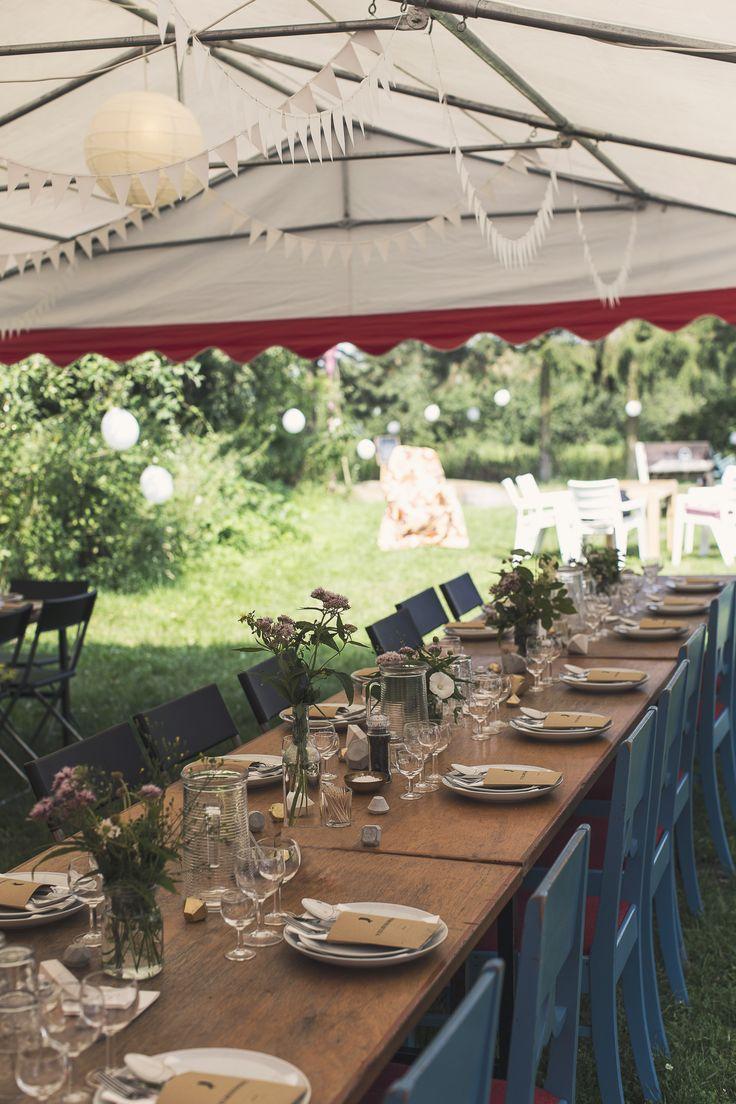 WEDDING TABLE - decoration - flowers - tent - gold - diy diamonds - paper gems - concrete - menu card - silhouette - paper flags - place cards - summer - inspiration