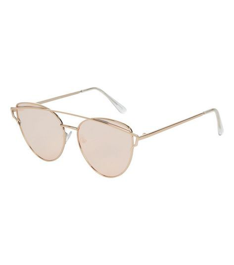 Rose Gold Bar Top Sunglasses | New Look