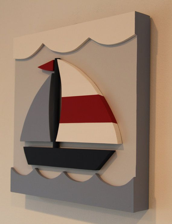 Sailboat Nautical Kids Room Decor and Nursery Wall by EleosStudio