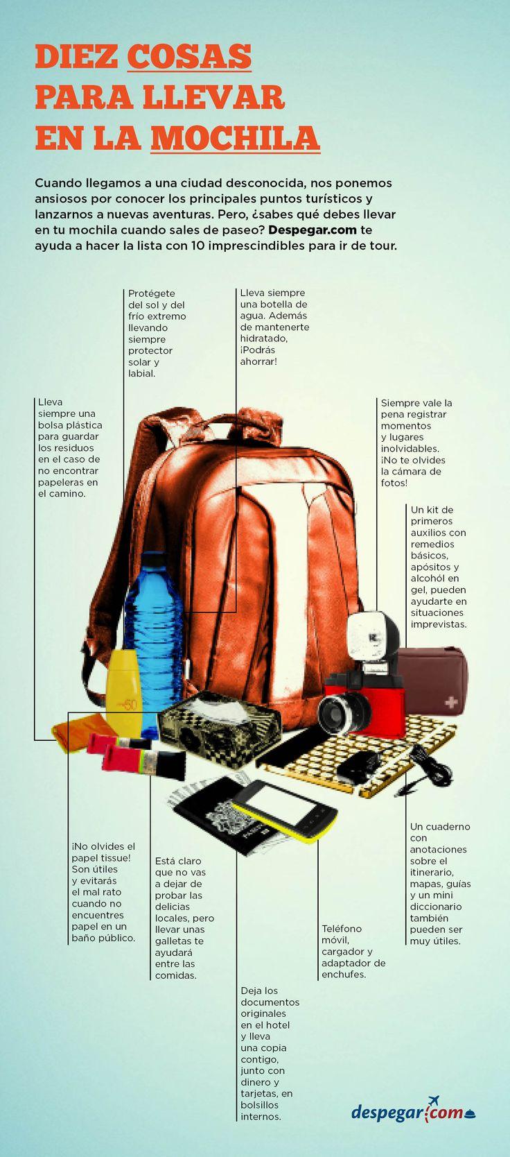 #Infografía #10 #cosas que llevar en la #mochila de #viaje. Entérate sobre lo que es necesario cargar en tu #bolso de #viaje con #Despegar. Infographic #infografiadeviaje