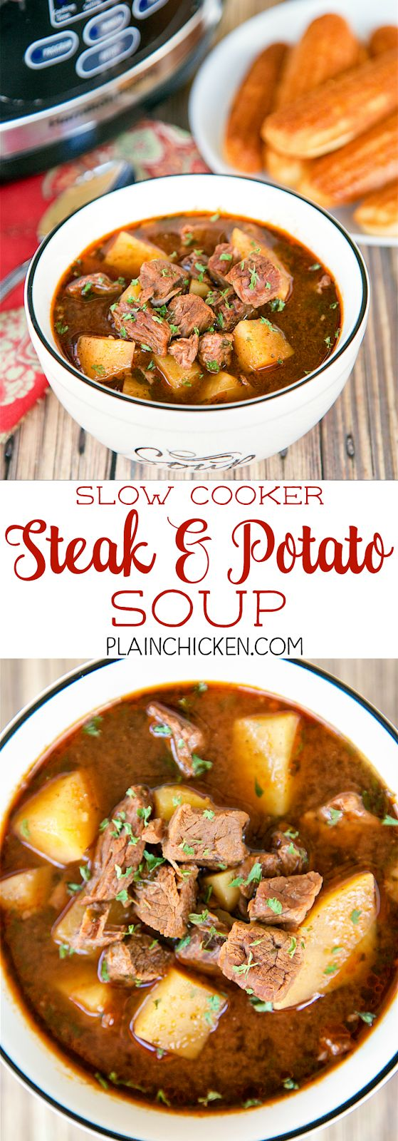 Slow Cooker Steak and Potato Soup - AMAZING! Everyone loved this easy soup!! Just dump everything in the slow cooker and let it do all the work. Stew meat, onion, yukon gold potatoes, beef broth, steak sauce, chili powder, cumin, cayenne pepper and parsley. Serve with cornbread for an easy and delicious weeknight meal guaranteed to please everyone!
