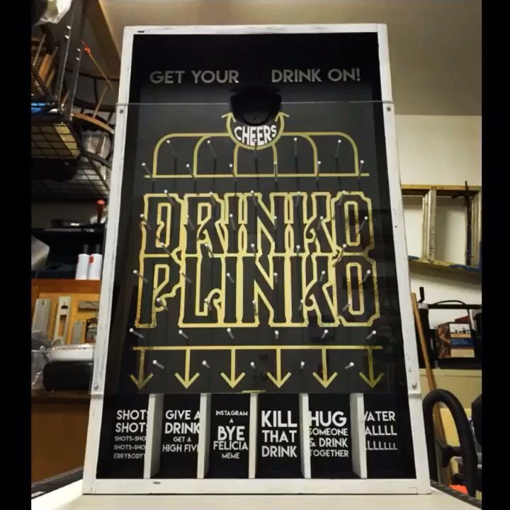 My take on Drinko Plinko :) designed and built by Steadfast Craft. ** If you're interested in a set of vinyl to make your own Drinko Plinko game, or you would like to order a premade game, please contact me at Alyse@steadfastcraft.com ** Cheers!
