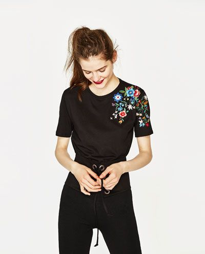Image 2 of T-SHIRT WITH EMBROIDERED SHOULDER from Zara $23