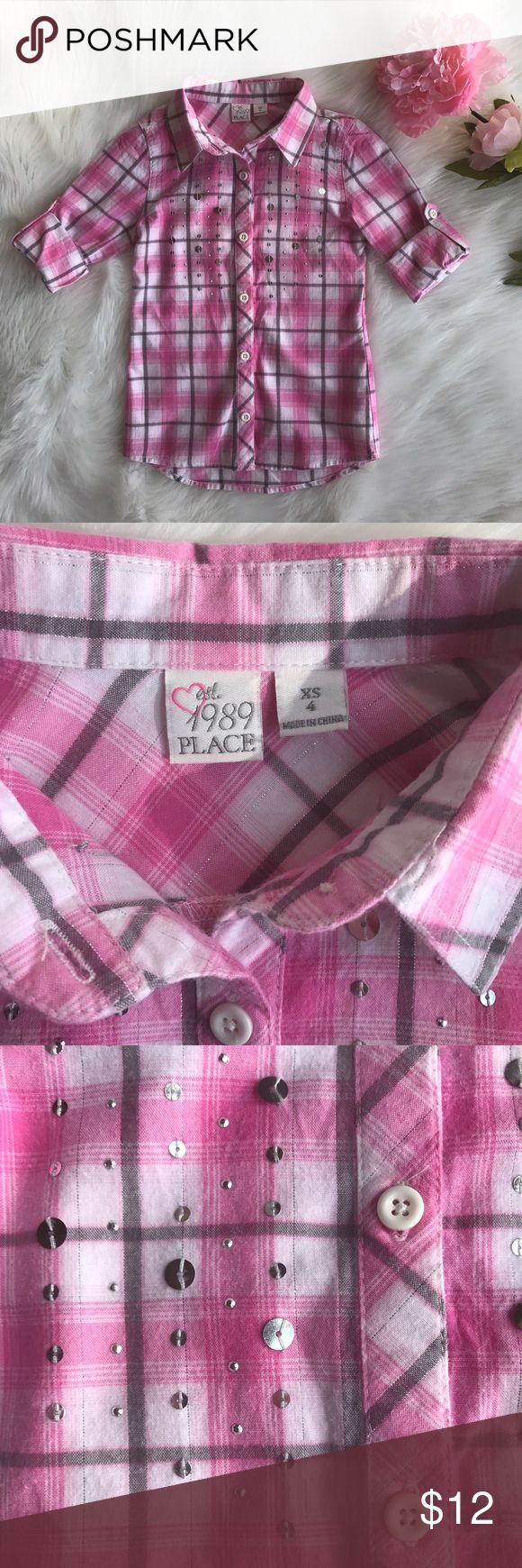 Children's Place Pink Plaid Shirt -ITEM: Girl's Button-down Shirt -CONDITION: Good -SIZE: XS 4 (Girl) -COLOR: Pink, White, Gray -CLOSURE: Front Button Placket -CARE: Machine Washable -MATERIALS: 99% Cotton, 1% Other Fabric ( that's what the label says) -APPROXIMATE MEASUREMENTS IN INCHES (LAYING FLAT): coming soon -FEATURES: * Long roll-tab sleeves * Collared neck * Silver sequins detail at front * Silver metallic thread -NOTES: It has a small hole in the back close to the hem (pic #6)…