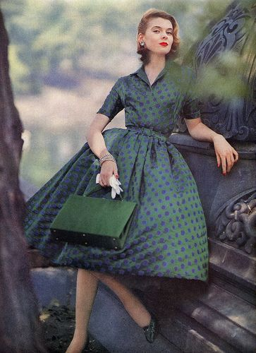 Green and Blue Dress 1955 Vogue
