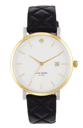 love the quilted strap!   kate spade new york 'metro grand' quilted strap watch, available at #Nordstrom