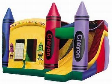Playland crayón 4 en 1 combo casa de la despedida, castillo de salto, diapositiva inflable del agua, cursos inflables de los obstáculos para la venta