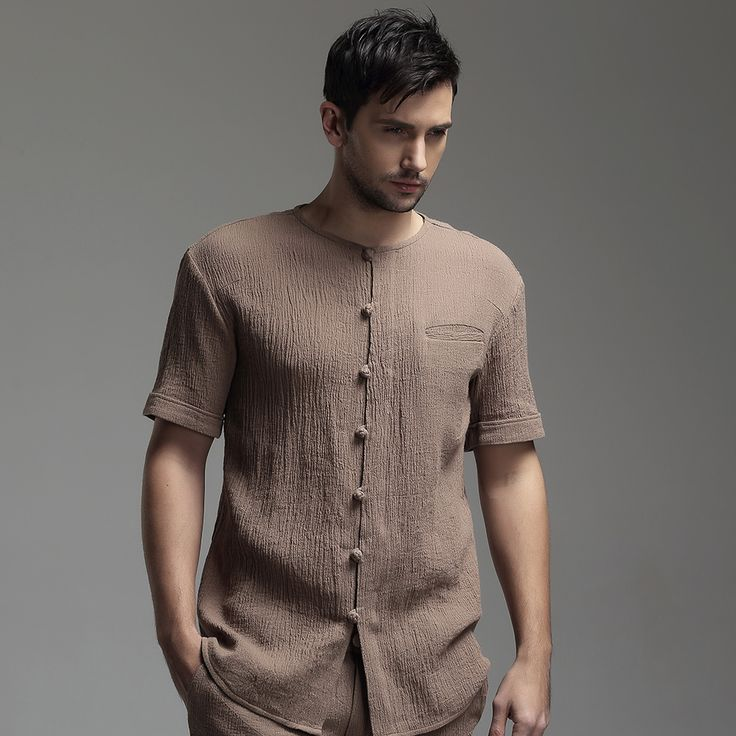 Oriental Style Scoop Neck Short Sleeve Flax Blouse - Brown - Chinese Shirts & Blouses - Men
