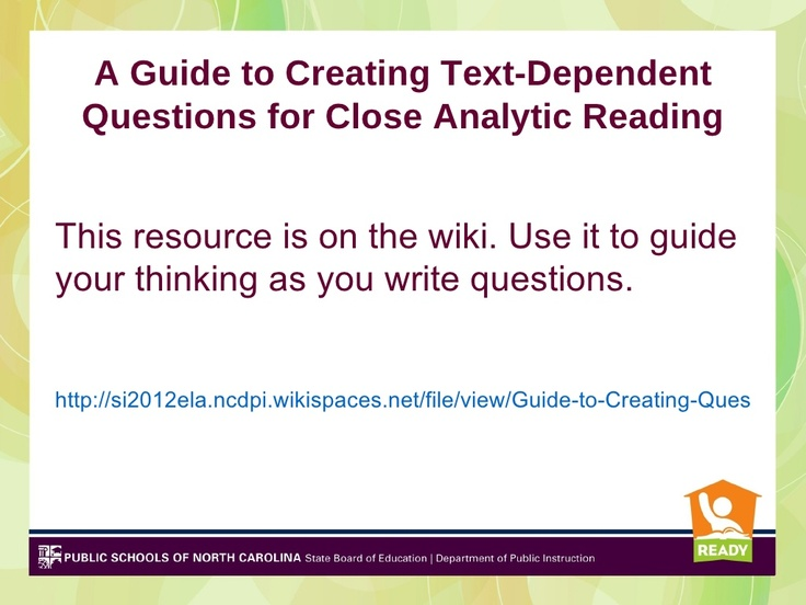 5 text dependent questions and evidence-based answers