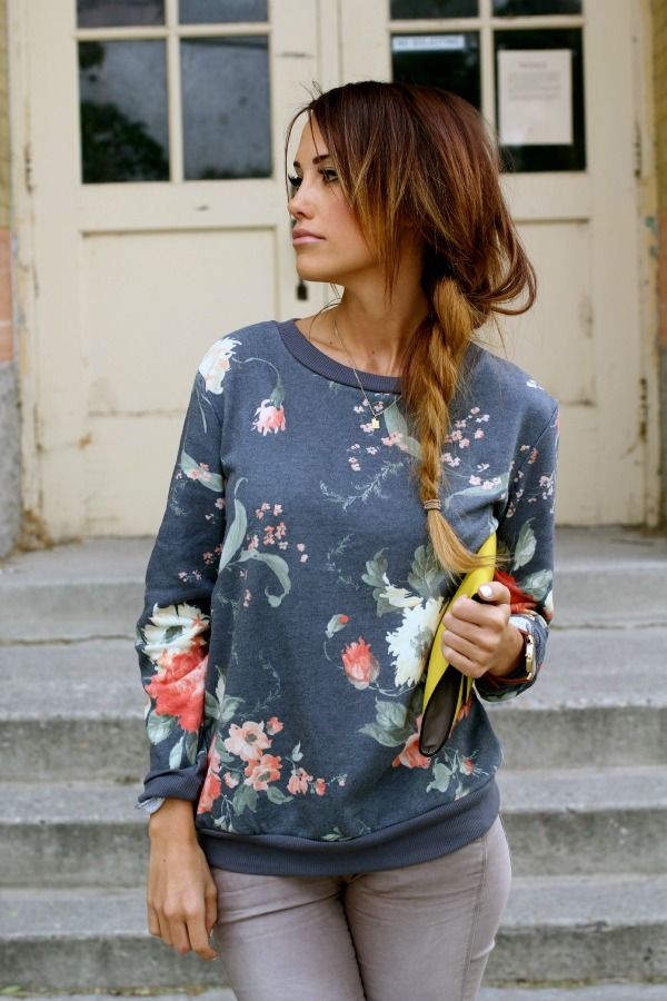 floral sweatshirt, twisted braid, LOVE this sweatshirt. I love the pattern and casual look of it paired with cute skinny jeans.