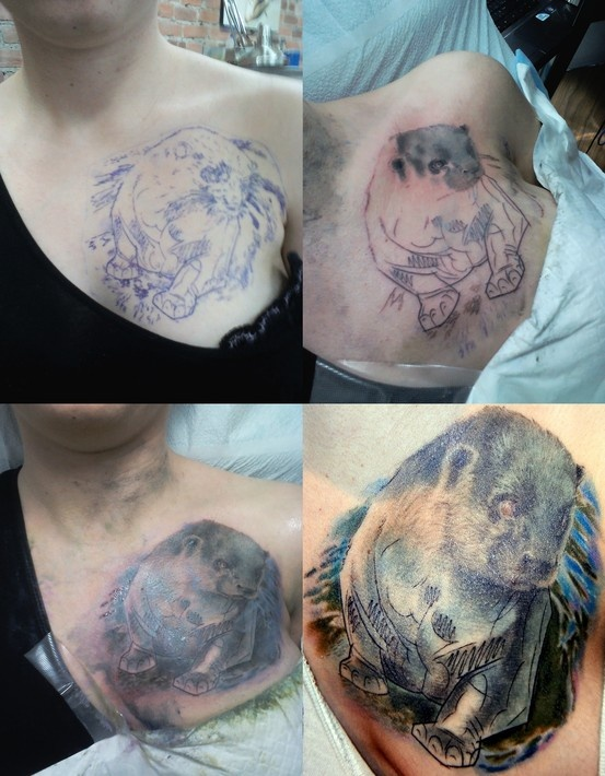 My otter tattoo chest piece step by step still needs for East river tattoo price