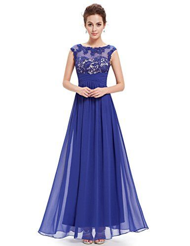 Ever Pretty Womens Sleeveless Illusion Neckline Evening Dress 4 US Sapphire Blue *** For more information, visit image link. (Note:Amazon affiliate link)