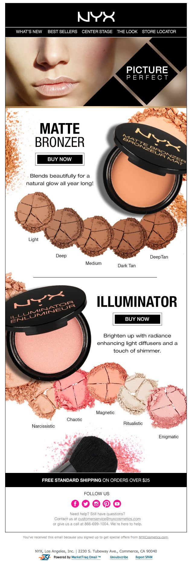 NYX Bronzer/Illuminator Product Email Would be a fun email to play with alt tags and colored cells.