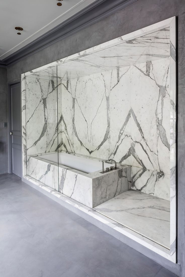 Hollywood hills master bathroom design project the design - Adesignersmindhow Divine Is This Marble Shower Bath Recess With Moveable Glass Panel To Contain The Water From The Shower When Required Project By