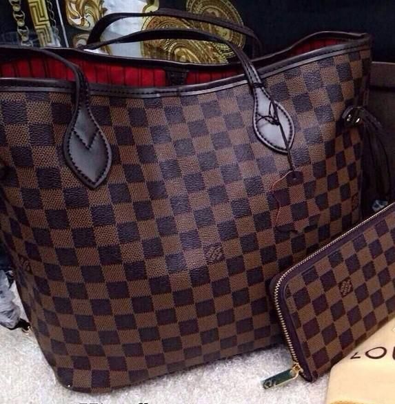 Louis Vuitton Damier Ebene Canvas Neverfull Bags...