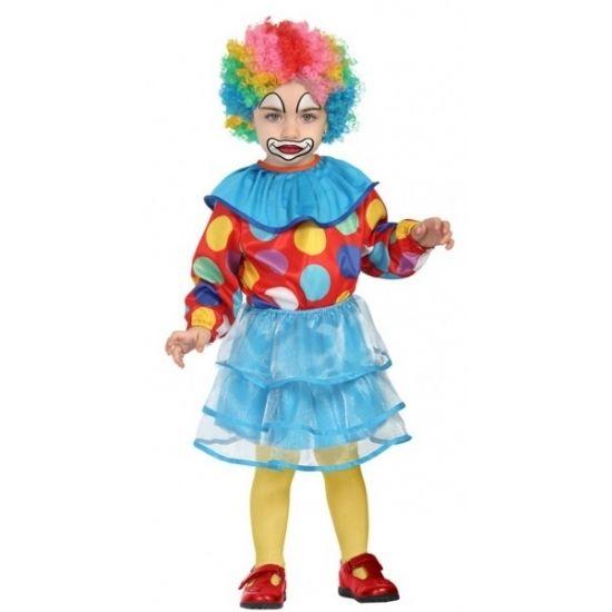 Clownspakje voor peuter meisjes. 3-delig clowns kostuum dat bestaat uit het rokje, shirtje en de kraag. Materiaal: 100% polyester.