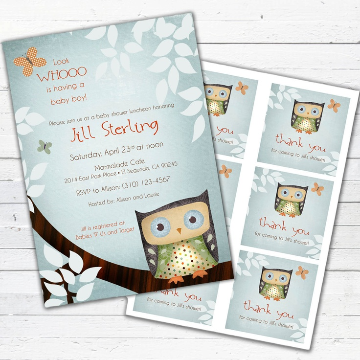 Owl Baby Shower Invitation boy and gift