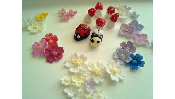 Gumpaste Bees, Lady Beetle, Toadstools, Mushrooms, Spring, Fairy Sugar Fondant Bees, Ladybugs, Mushrooms