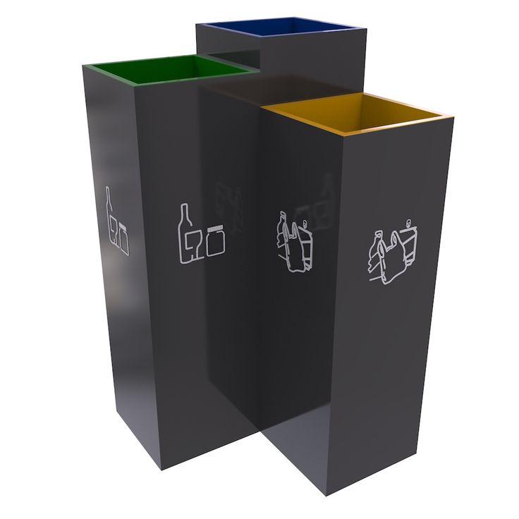 Bergen Poubelle de tri, trois compartiments pour tri sélectif