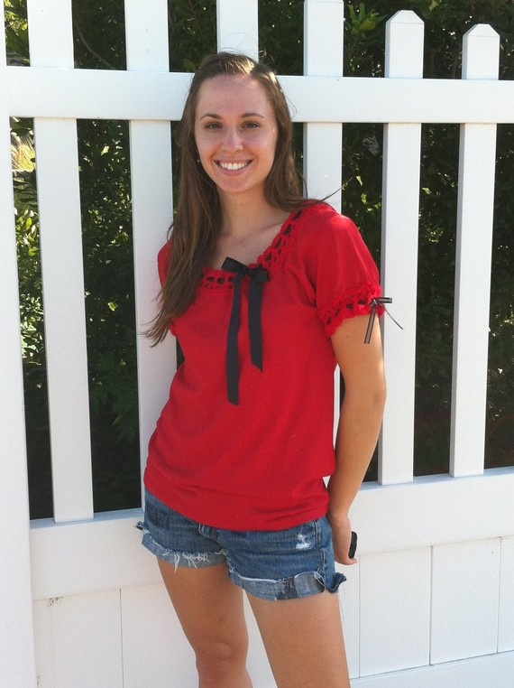 Scalloped Edge Crocheted Red T-shirt $24.00