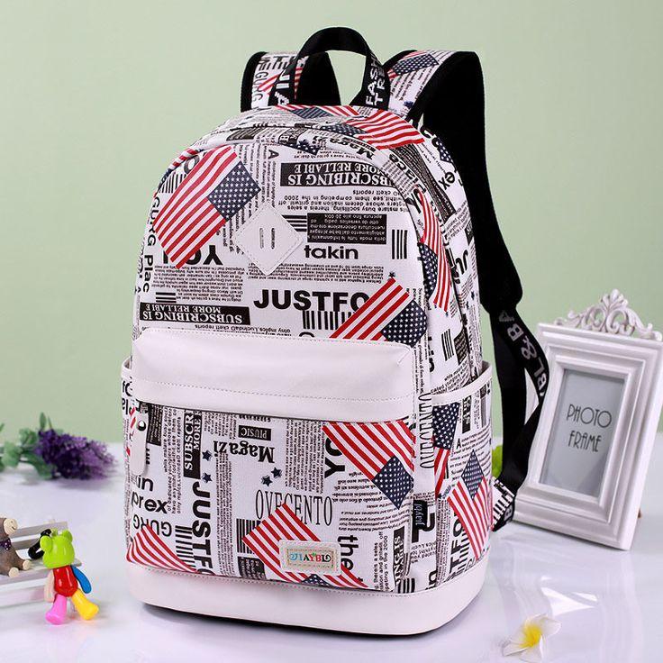 Preppy Style Print School Backpack Travel Bag