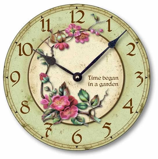 Vintage Style Clock - Time Began in a Garden