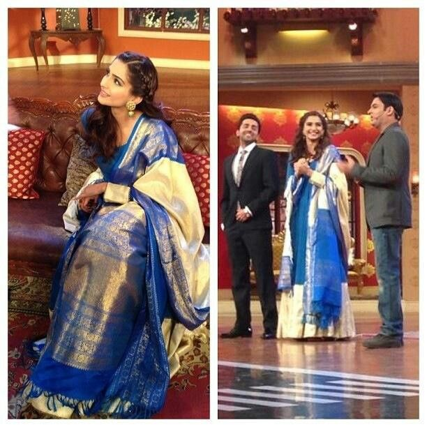 Sonam Kapoor during Bewakoofiyan promotions on Comedy Nights with Kapil with Ayushman Khurana