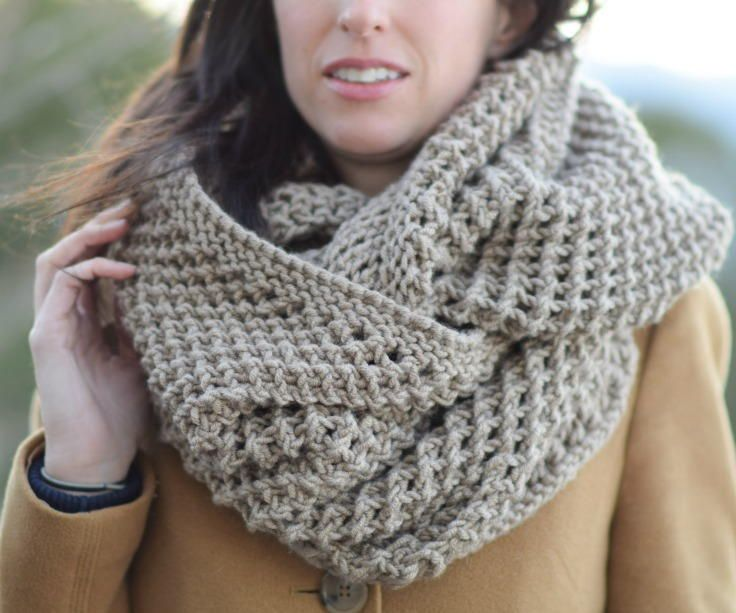 """This versatile piece will get you compliments everywhere you go! Wide enough to pull it over your head, with a stitch pattern that makes it unique and beautiful. While the scarf looks complicated, it's actually very simple."""