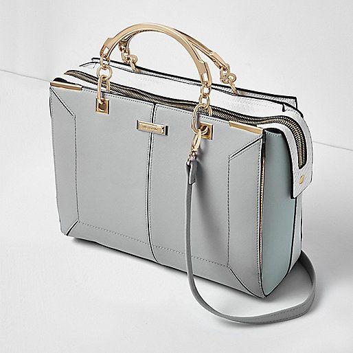 Blauwe handtas met panelen - shopper/draagtassen - tassen/portemonnees - dames