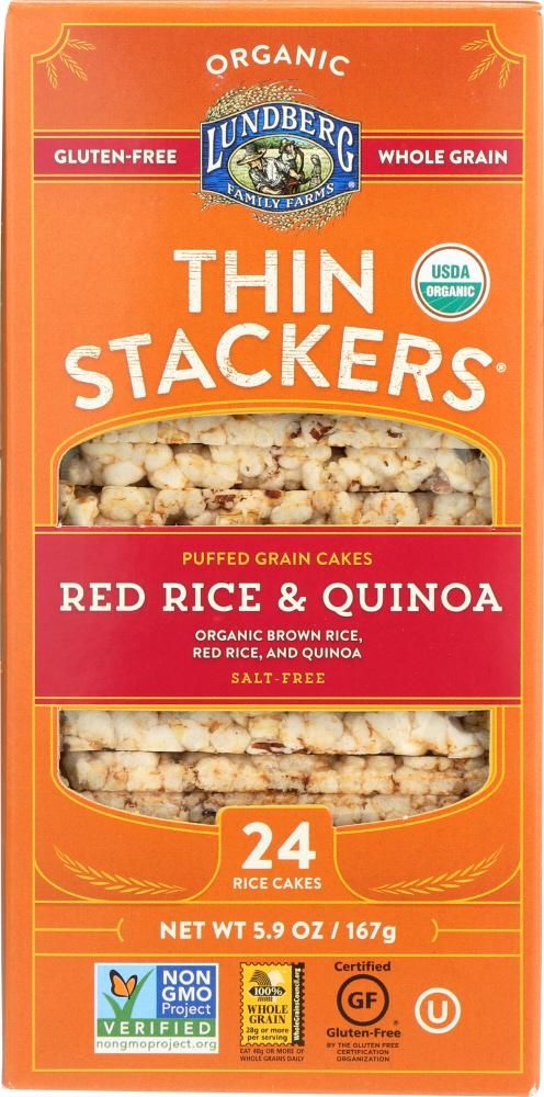 LUNDBERG: Rice Cakes Thin Stackers Red Rice & Quinoa, 5.9 oz