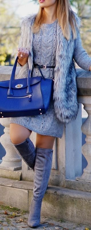 A PIECE OF ANNA - blog the fashion blog fashion blogger from Lublin: GRAY FUR VEST & DRESS OUTFIT | styling for fall with gray fur vest #piece: