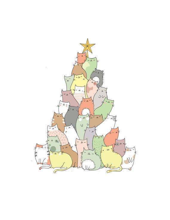 Cat Christmas Card funny christmas card by BeccyKittyDesigns