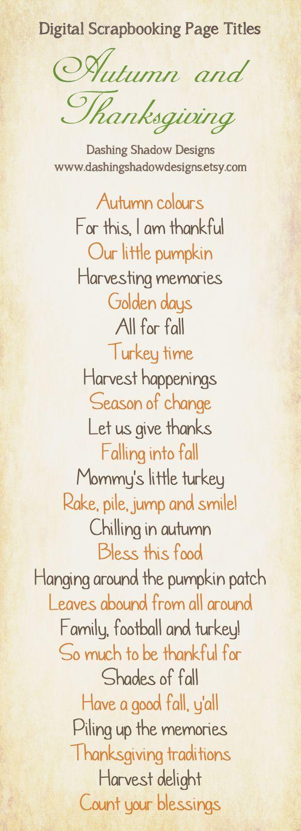 Autumn & Thanksgiving scrapbook layout titles.