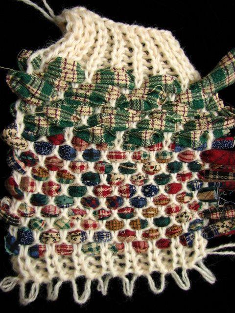 rag rug weaving on knitting machine