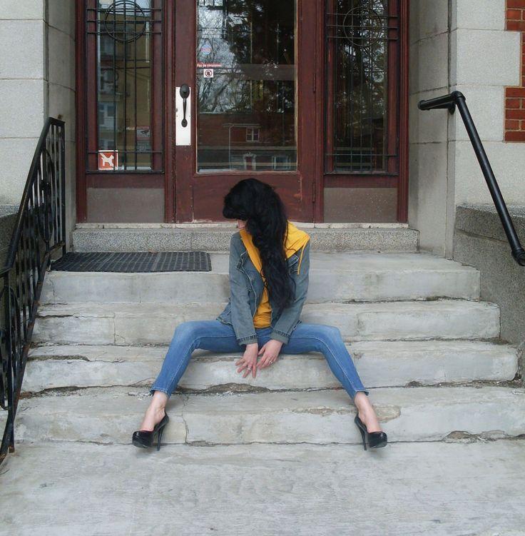 #Beautiful #outfit with #denim #jacket & #yellow #top  more photos here  http://www.jenniferkaya.com/?p=4191 / Jennifer Kaya  Canadian fashion blogger www.jenniferkaya.com  #style #fashion #ootd #fashionblogger #denim #jeans #yellow #yellowtop #blue #blue outfit #streetstyle #denimlook #ootd #heels #high heels #hair #hairstyle #longhsir #brunette #cute #denim jaket #jacket