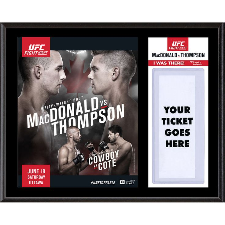 "Fanatics Authentic UFC Fight Night Rory MacDonald vs. Stephen Thompson 12"" x 15"" Sublimated Plaque"