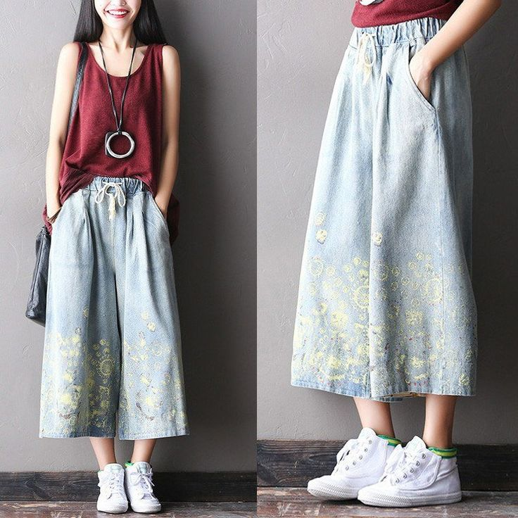 Women Spray dyeing denim Wide led pants – Buykud