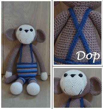 Gehaakte aap. Gehaakte knuffels bij OK Kadootjes! Neem een kijkje op www.okkadootjes.webklik.nl.