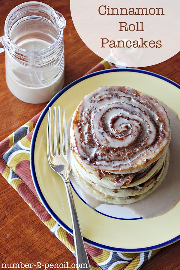 Sour Cream Cinnamon Roll Pancakes with Maple Coffee Glaze.