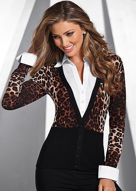 Black Multi Print button down sweater from VENUS. Sizes XS-XL!