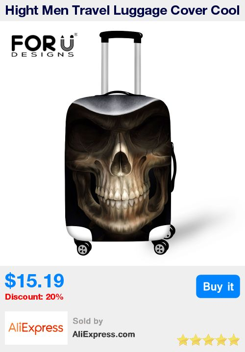 Hight Men Travel Luggage Cover Cool Skull Luggage Suitcase Cover Elastic Travel Dust Protective Cover Bag to 18-30 inch Suitcase * Pub Date: 04:20 Apr 12 2017