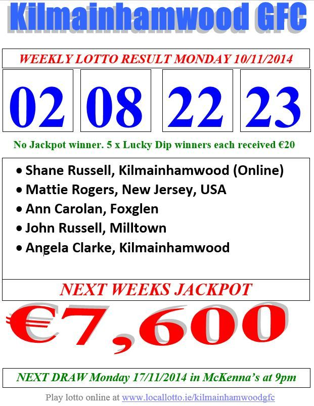 Kilmainhamwood Gfc Lotto & News 10.11.14  Ireland take on Scotland this Friday in a crunch Euro qualifier so as you sit back and cheer on the boys in green why not increase your chances of success by playing the Kilmainhamwood GFC lotto online at www.locallotto.ie/kilmainhamwoodgfc where the jackpot is €7,600 ... you know the drill by now ... #ItsThereToBeWon