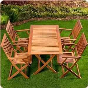 Sitzgruppe 5tlg SYDNEY Sitzgarnitur Gartengarnitur Holz 4 Stühle 1 Tisch: Amazon.de: Garten