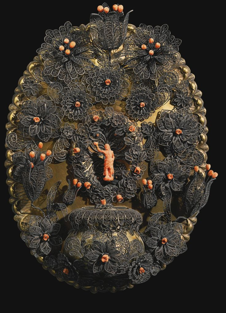 Italian, Trapani, Late 17th Early 18th Century, Holy Water Stoop With Saint