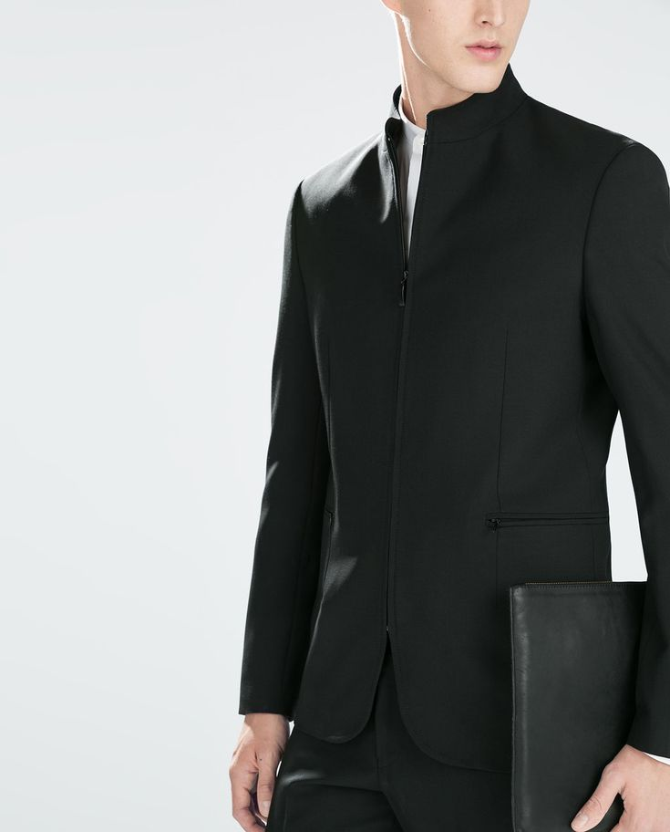 zara man mao collar zipped blazer mode 2015. Black Bedroom Furniture Sets. Home Design Ideas