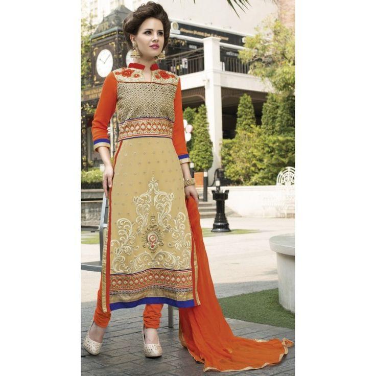 Designer Georgette Embroidered Cream & Orange Straight Cut Salwar Suit-2014(OFB-Avadh)