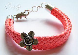 NEON flower leather bracelet